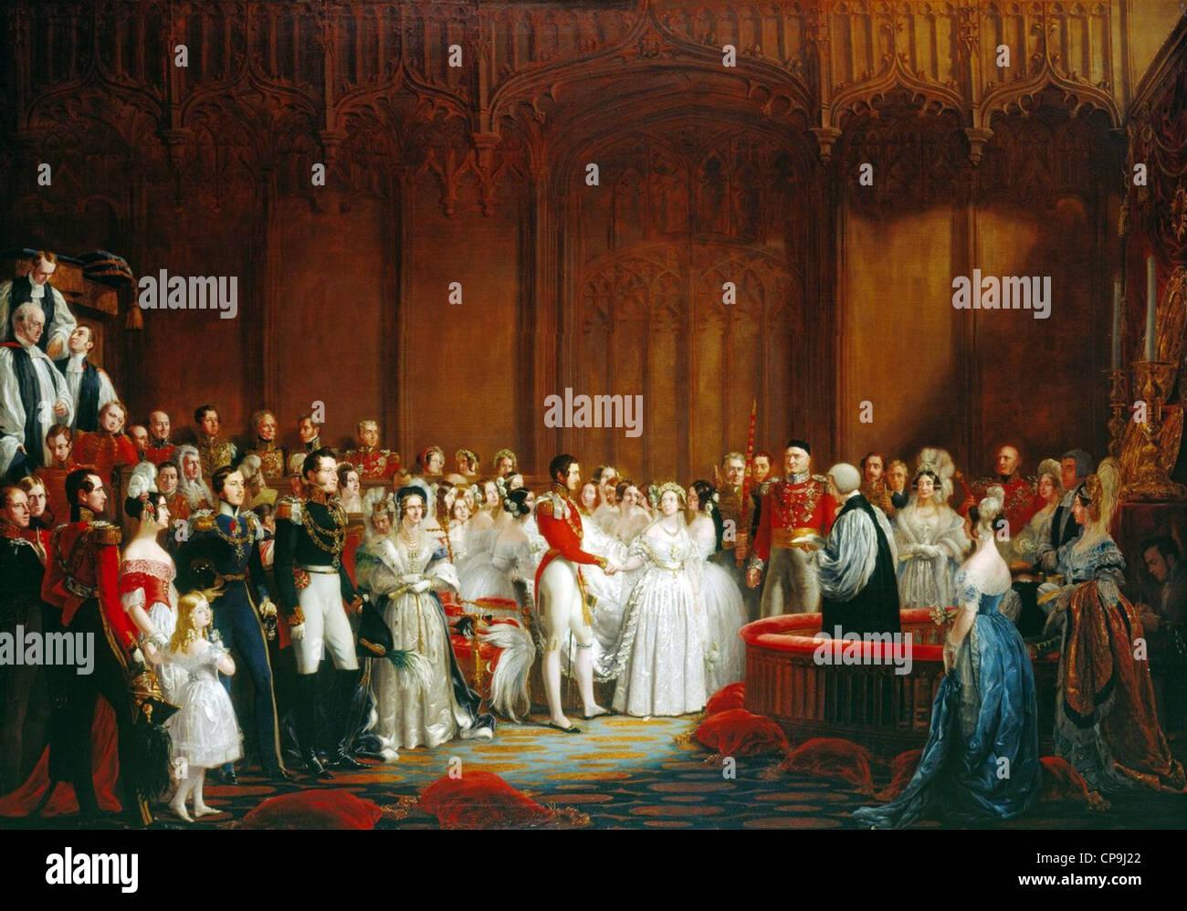 Le mariage de la reine Victoria, 10 février 1840 Photo Stock