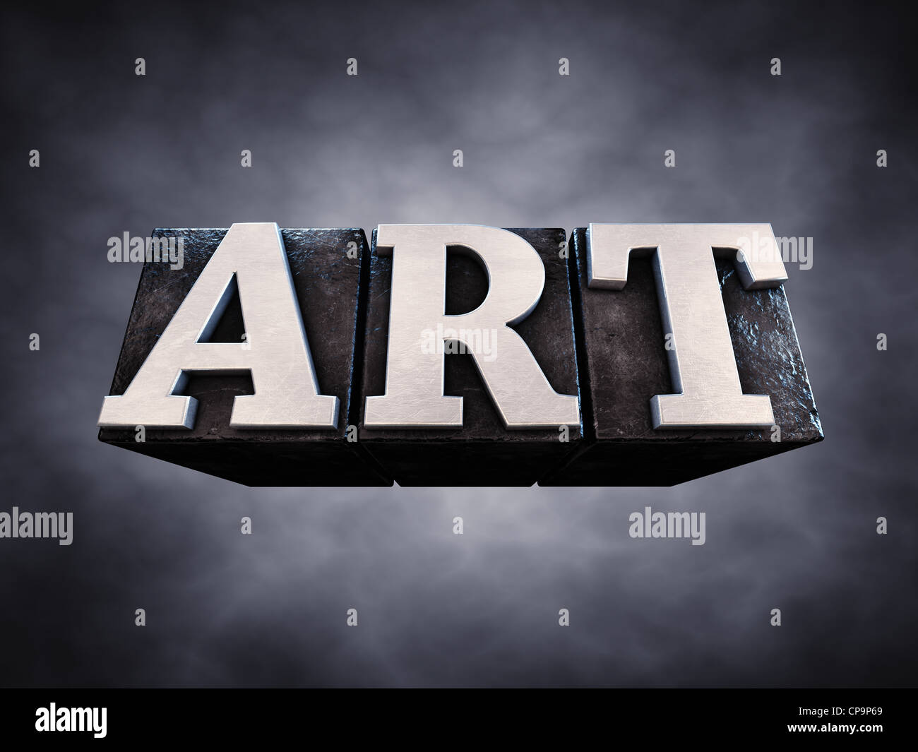 , L'art de composition typographique sur fond sombre, 3d illustration Photo Stock