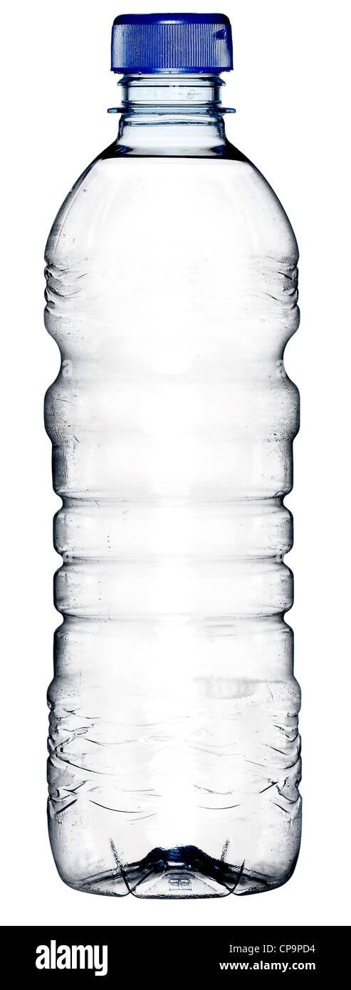 Bouteille d'eau en plastique pleine H2O clair striée Banque D'Images