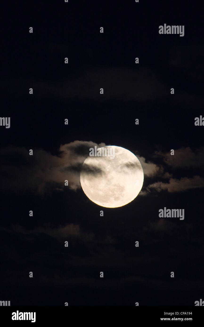 Pleine lune, Perigree ou supermoon, s'élève au-dessus de Salida, Colorado, USA. La lune est plus près Photo Stock