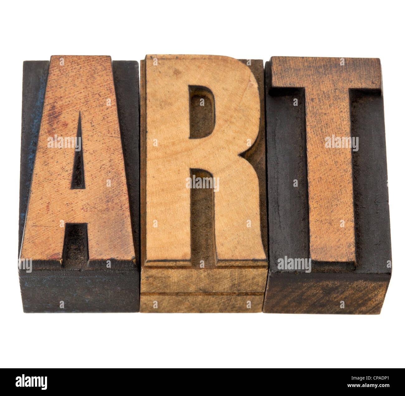 Art - mot isolé dans la typographie vintage type de bois Photo Stock