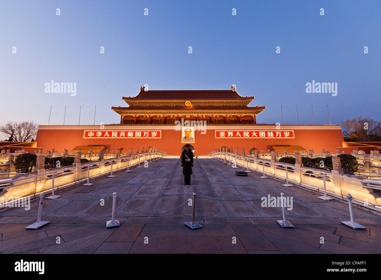 Tiananmen Gate, la Tha porte de la paix céleste, la Cité Interdite, Pékin, Chine Photo Stock