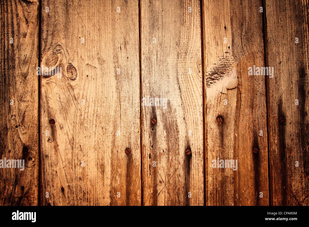 Planches en bois ancien et des ongles Photo Stock