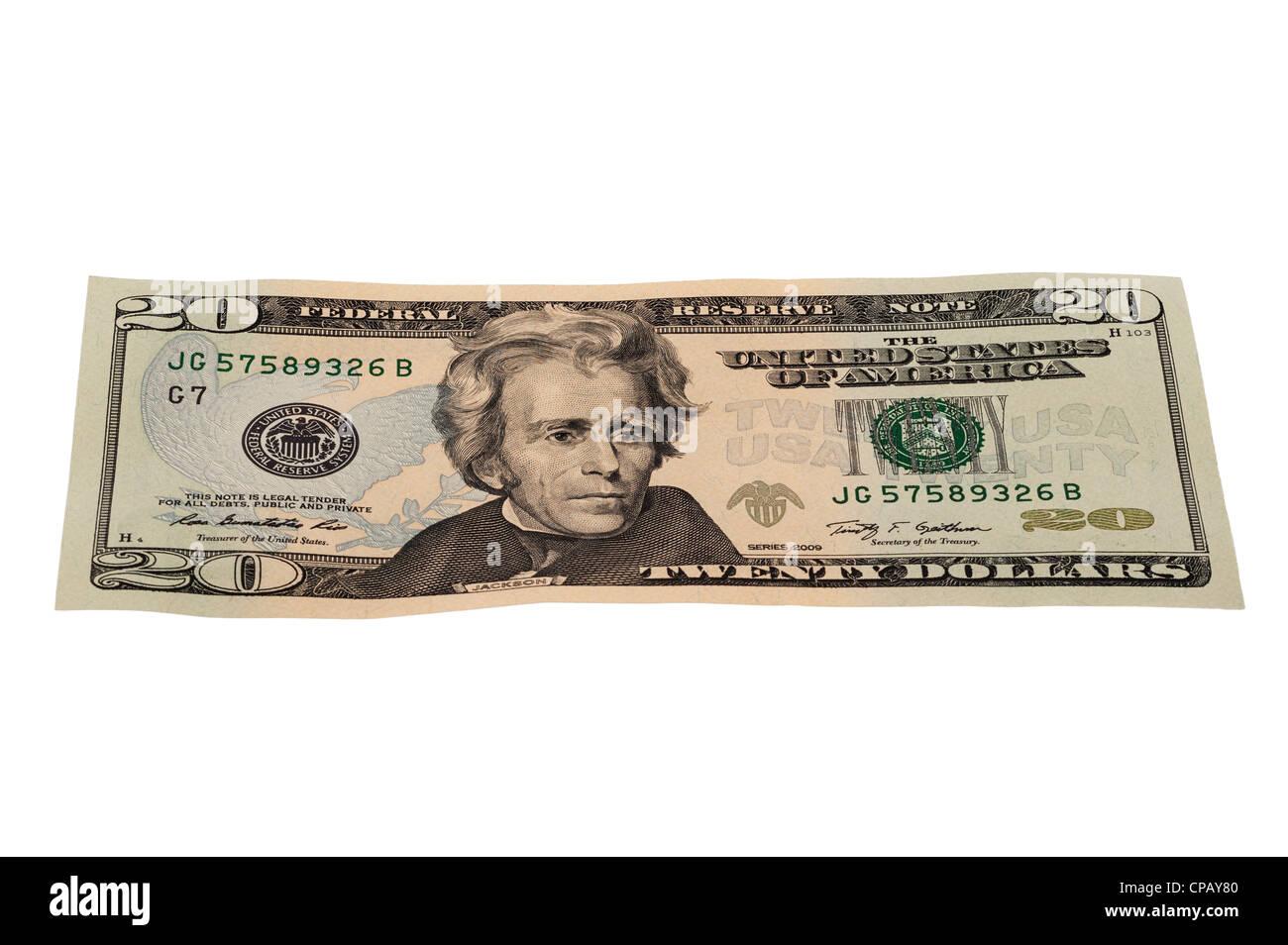 Un dollar 20 note du Nord sur un fond blanc Photo Stock