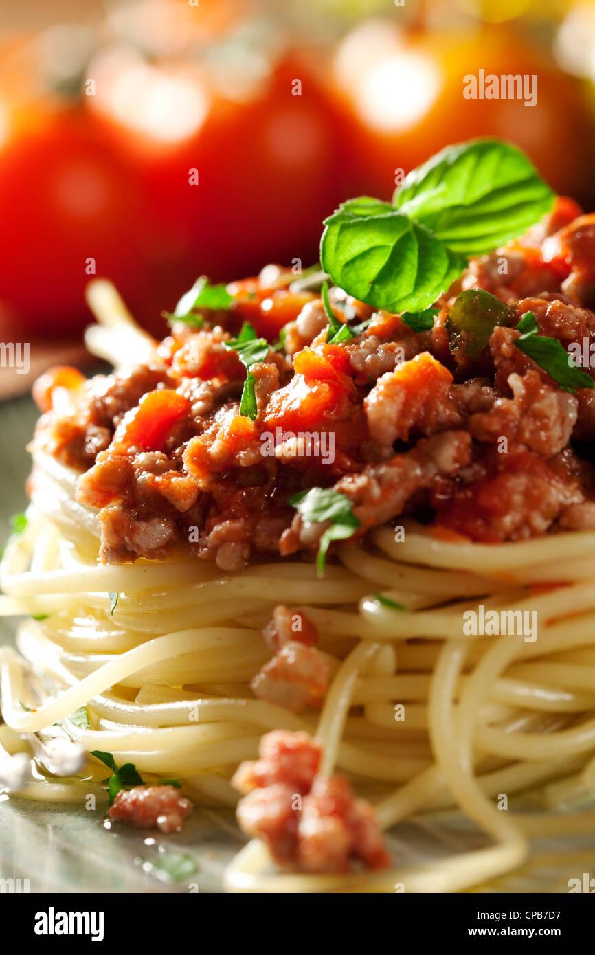 Libre d'un spaghetti bolognese italien frais Photo Stock