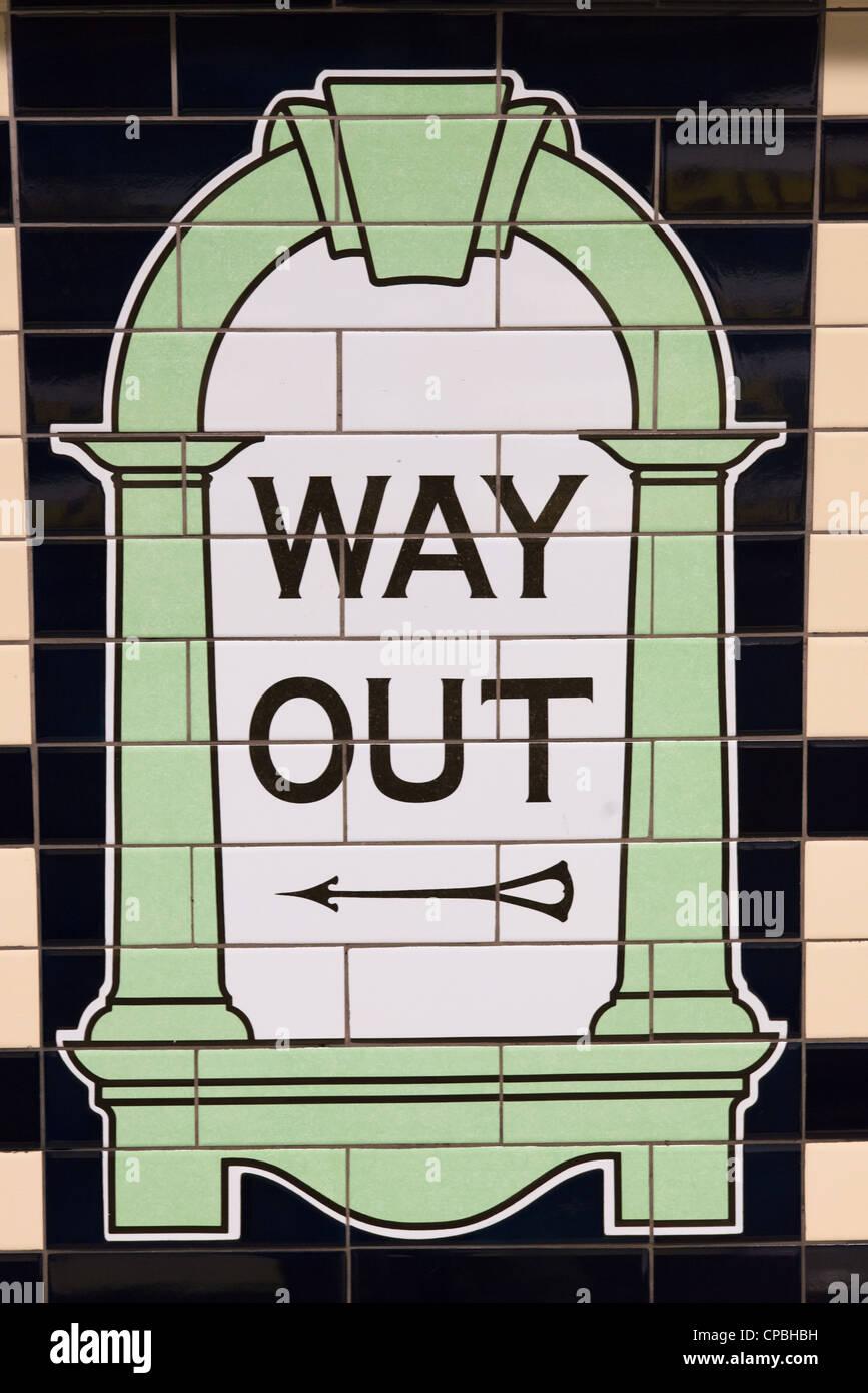 Sortie sign in London Underground tube station. UK. Photo Stock