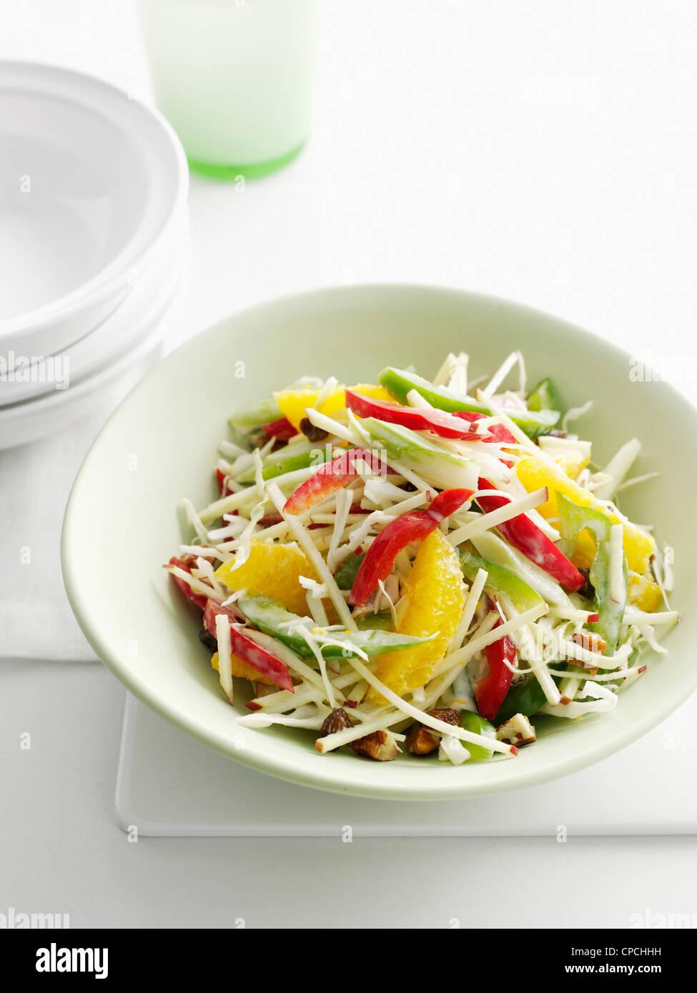 Close up de bol de salade de fruits Photo Stock