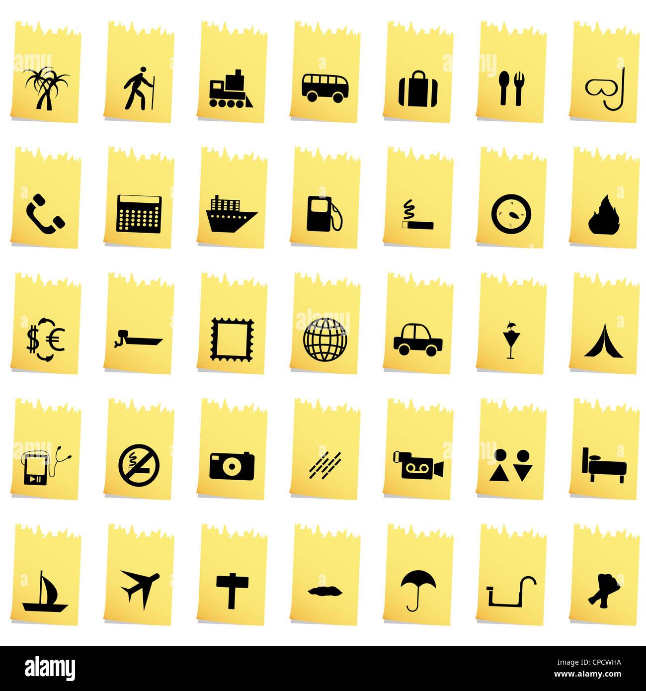 Set de voyage d'autre vecteur web icons Photo Stock