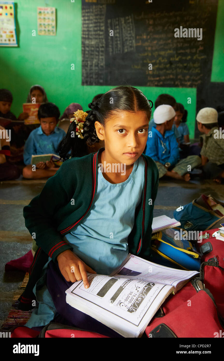 L'école primaire, Mysore, Karnataka, Inde, Asie Photo Stock
