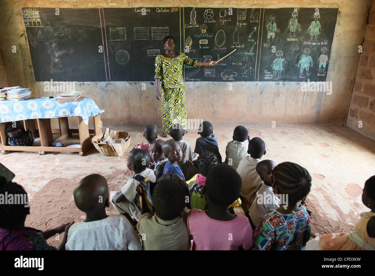 L'école primaire en Afrique, Hevie, Bénin, Afrique de l'Ouest, l'Afrique Photo Stock