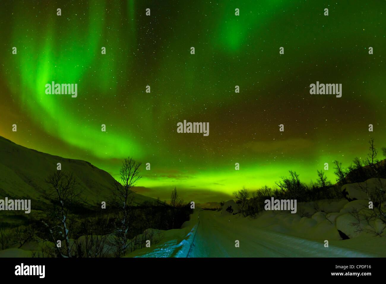 Aurore boréale) vu sur une route couverte de neige, Troms, Norvège du Nord, en Scandinavie, en Europe Banque D'Images