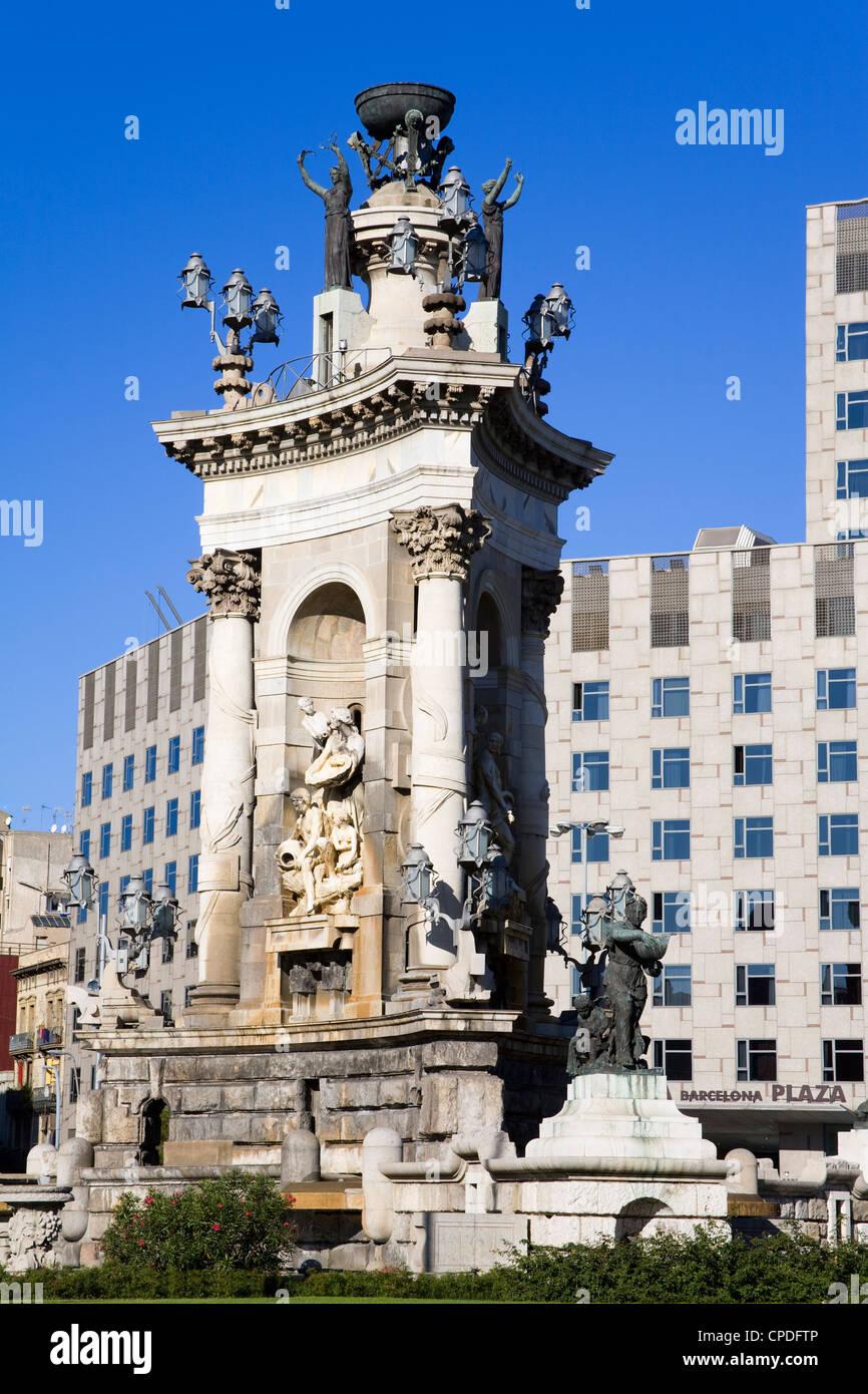 La Placa d'Espanya Monument situé dans le quartier Montjuic, Barcelone, Catalogne, Espagne, Europe Photo Stock