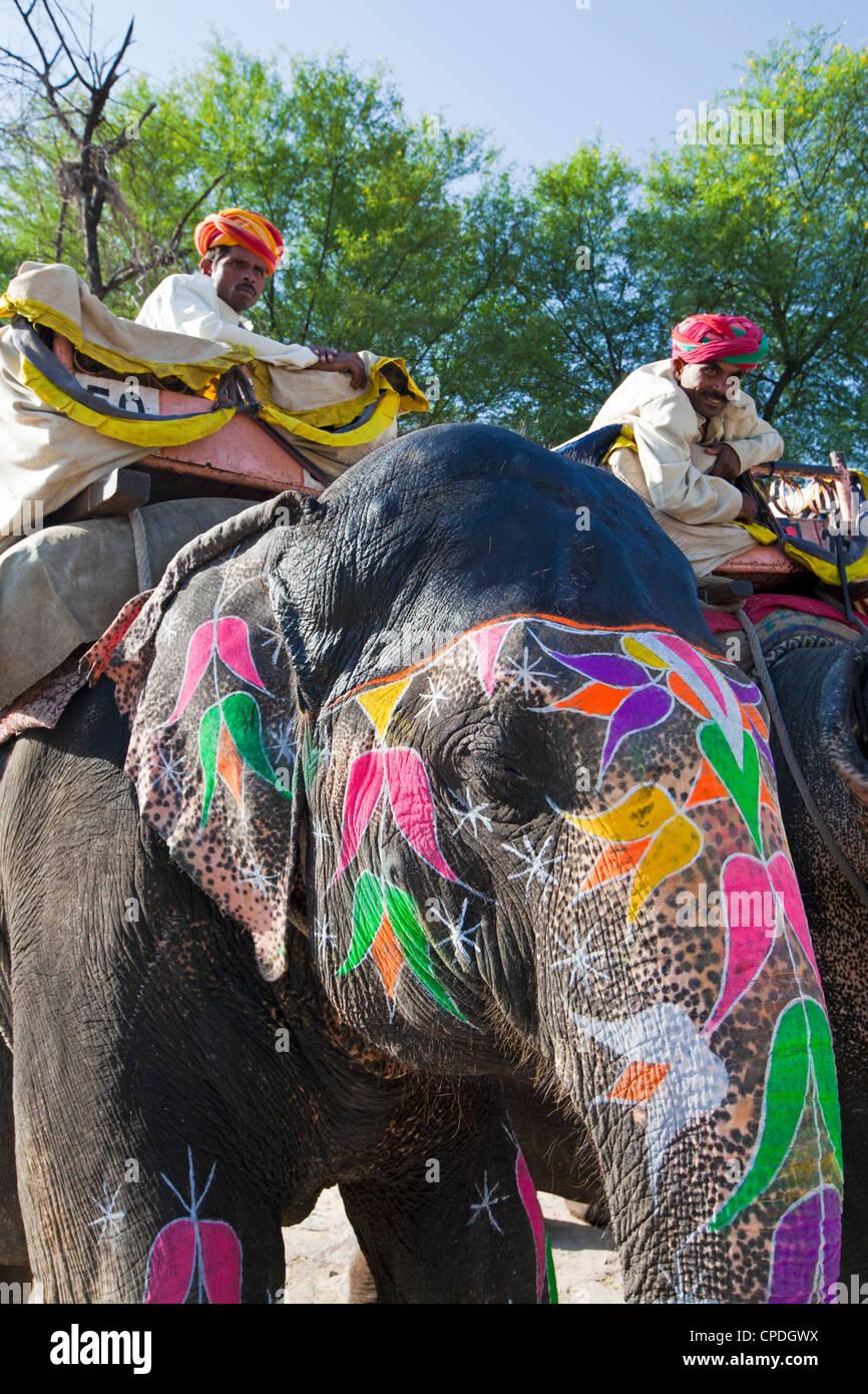 Peint de cérémonie éléphant à Amber Fort près de Jaipur, Rajasthan, Inde, Asie Photo Stock