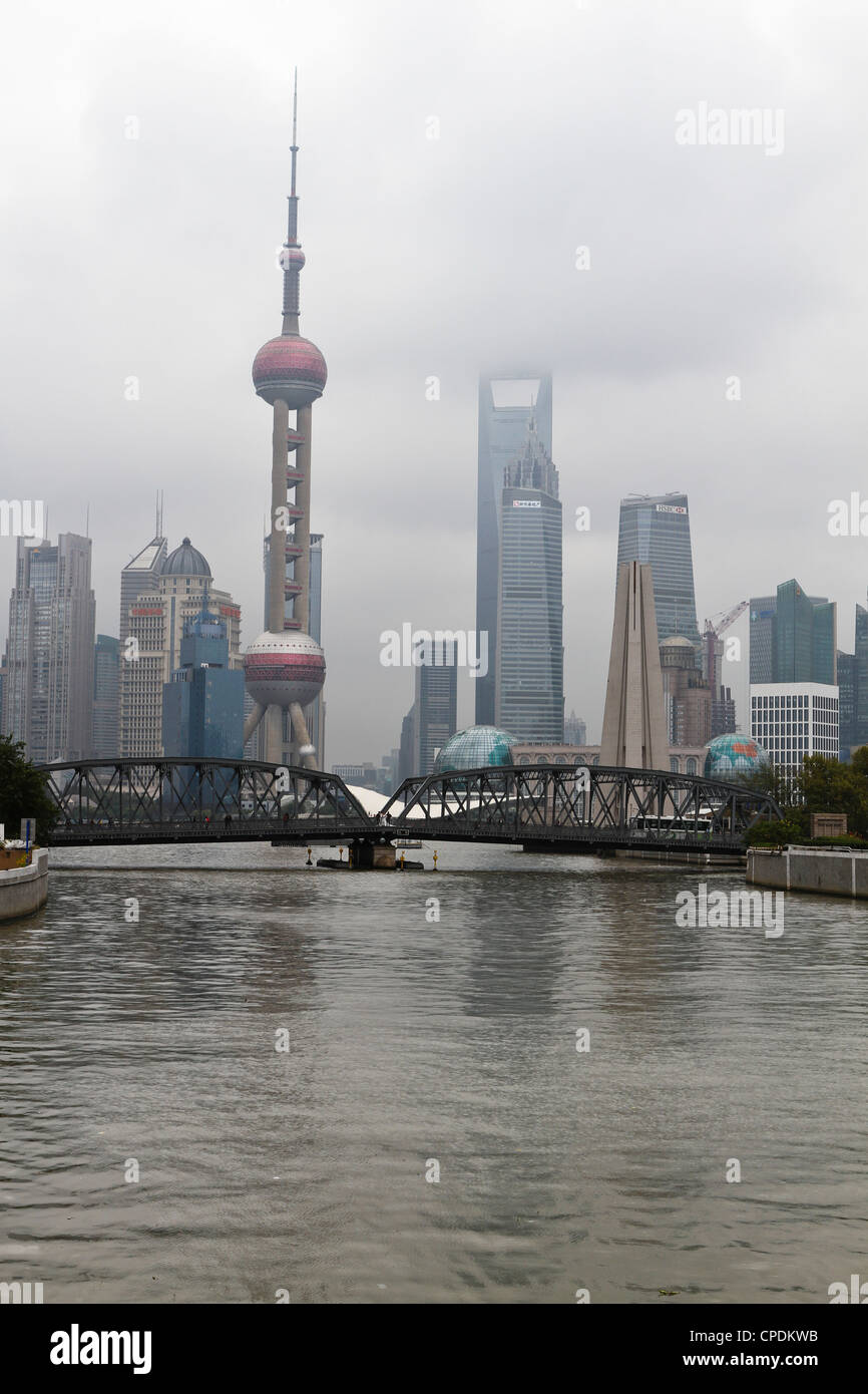 Waibaidu Bridge (Pont de jardin) sur Suzhou Creek, Shanghai, Chine Photo Stock