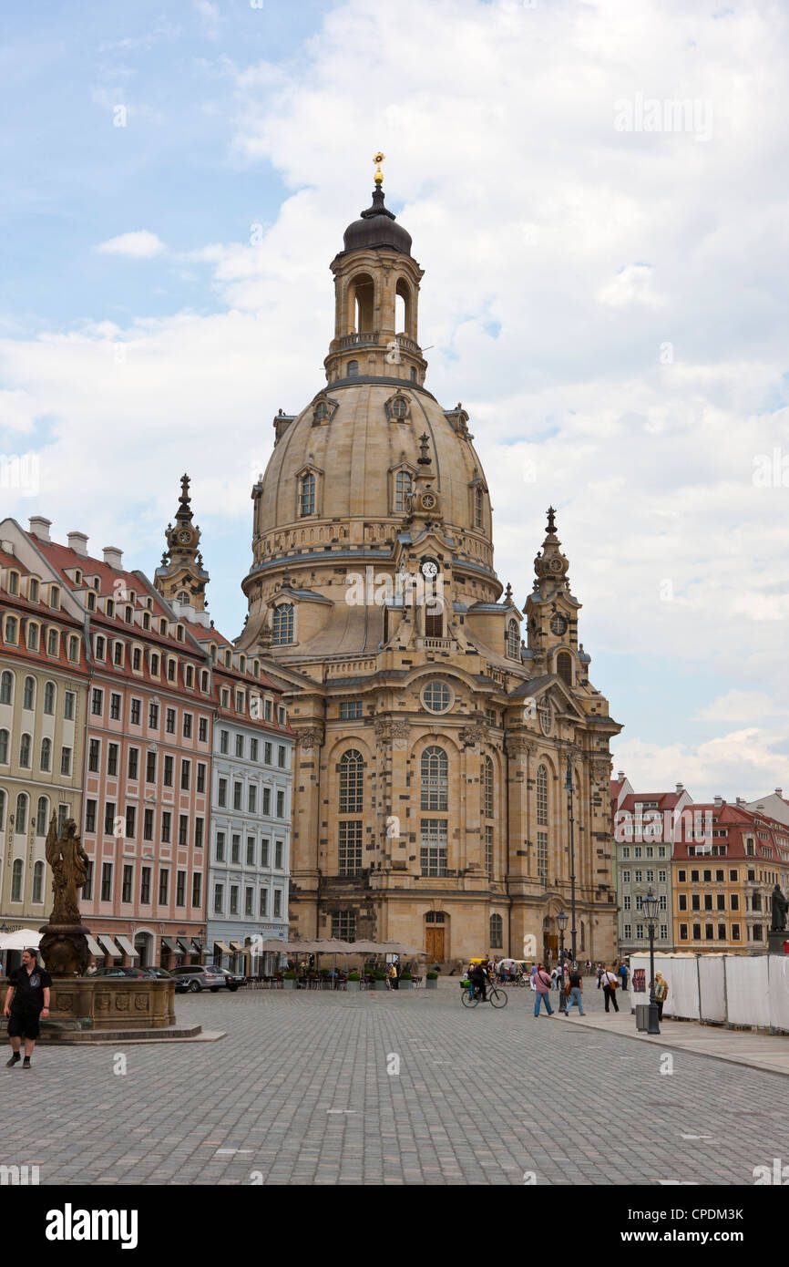 La Frauenkirche, Dresde, Saxe, Allemagne, Europe Photo Stock