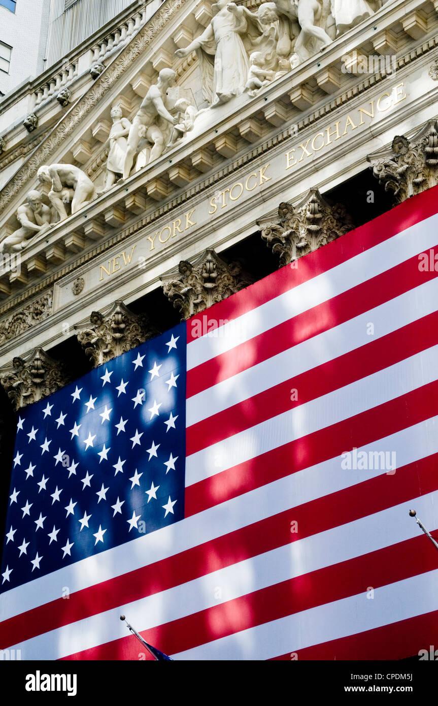 Bâtiment de la Bourse de New York, Wall Street, USA Photo Stock