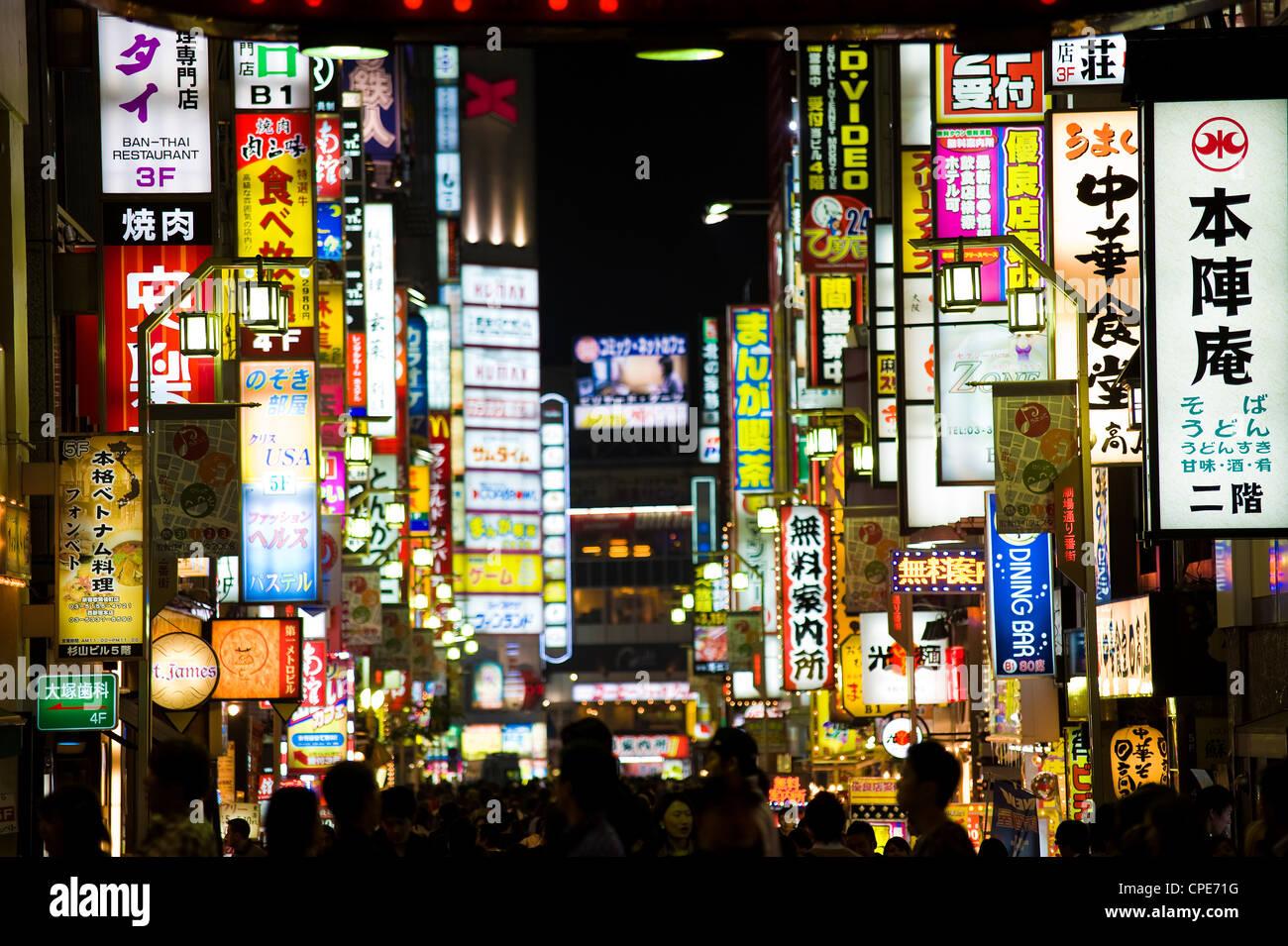 Enseignes au néon, Kabukicho, Shinjuku, Tokyo, Japon, Asie Photo Stock