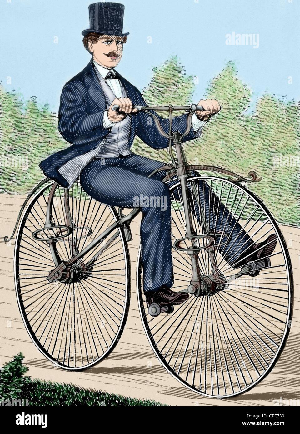 USA. Vieux vélo. Gravure du xixe siècle. De couleur. Banque D'Images