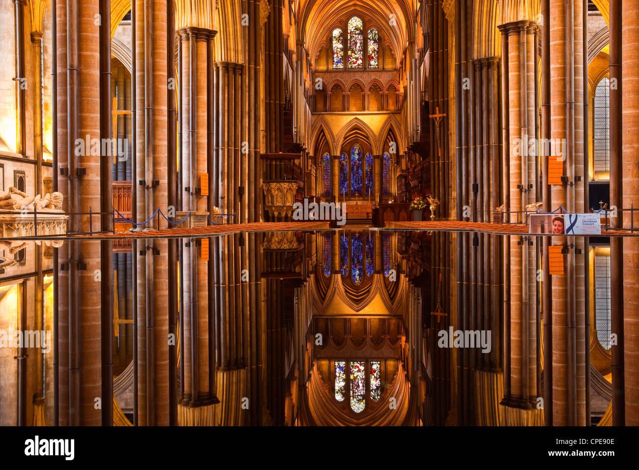 La belle nef et font de la cathédrale de Salisbury, Wiltshire, Angleterre, Royaume-Uni, Europe Photo Stock