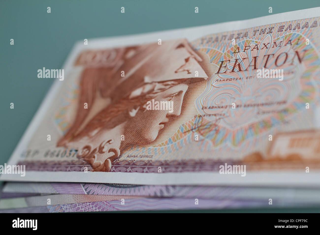 Billets de banque de l'argent monnaie drachme argent monnaie de la Grèce avant d'euros Banque D'Images