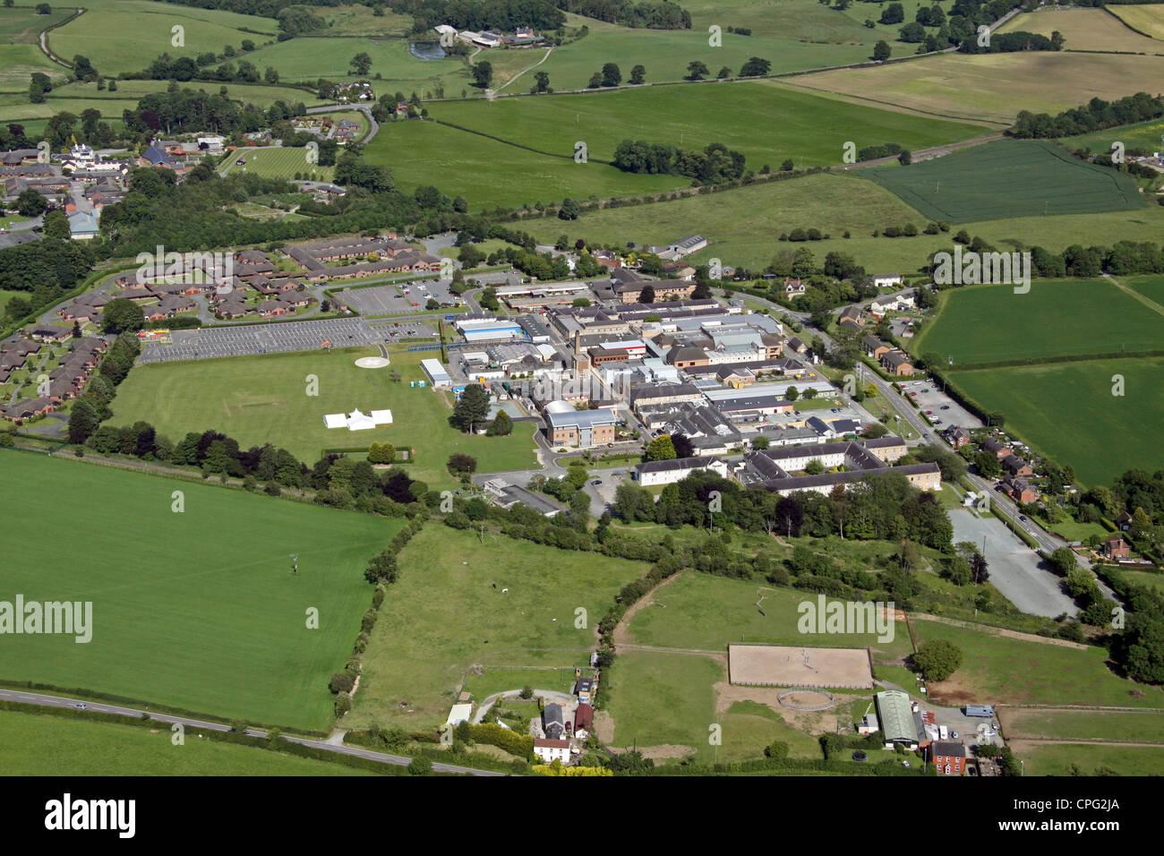 Vue aérienne de l'hôpital Oswestry Photo Stock
