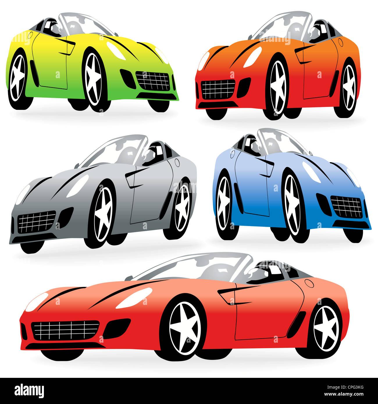 jeu de voitures de course dessin anim photo stock - Voiture De Course Dessin Anim
