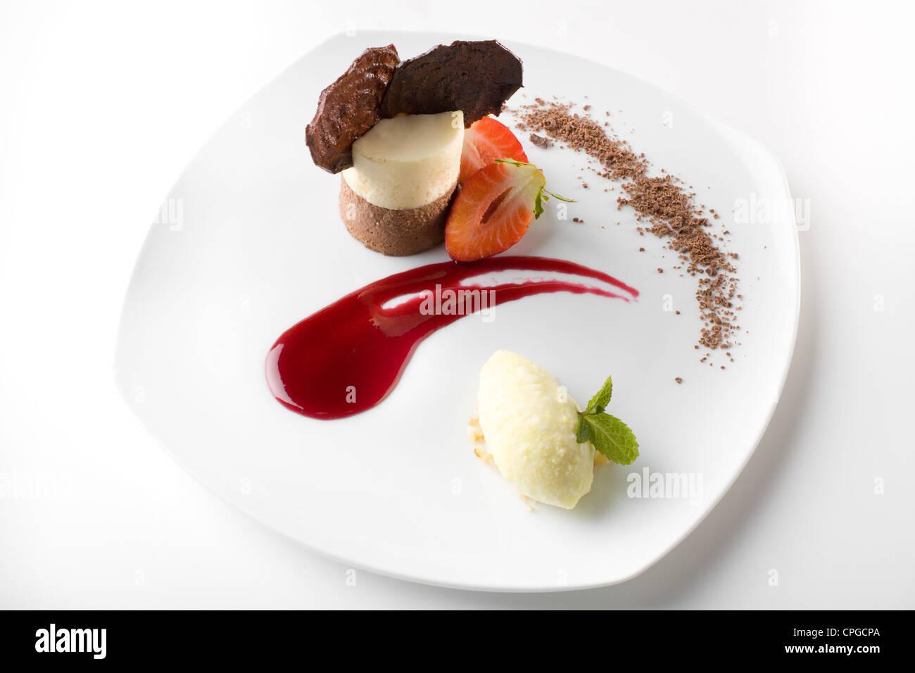 Dessert gastronomique élégant Photo Stock
