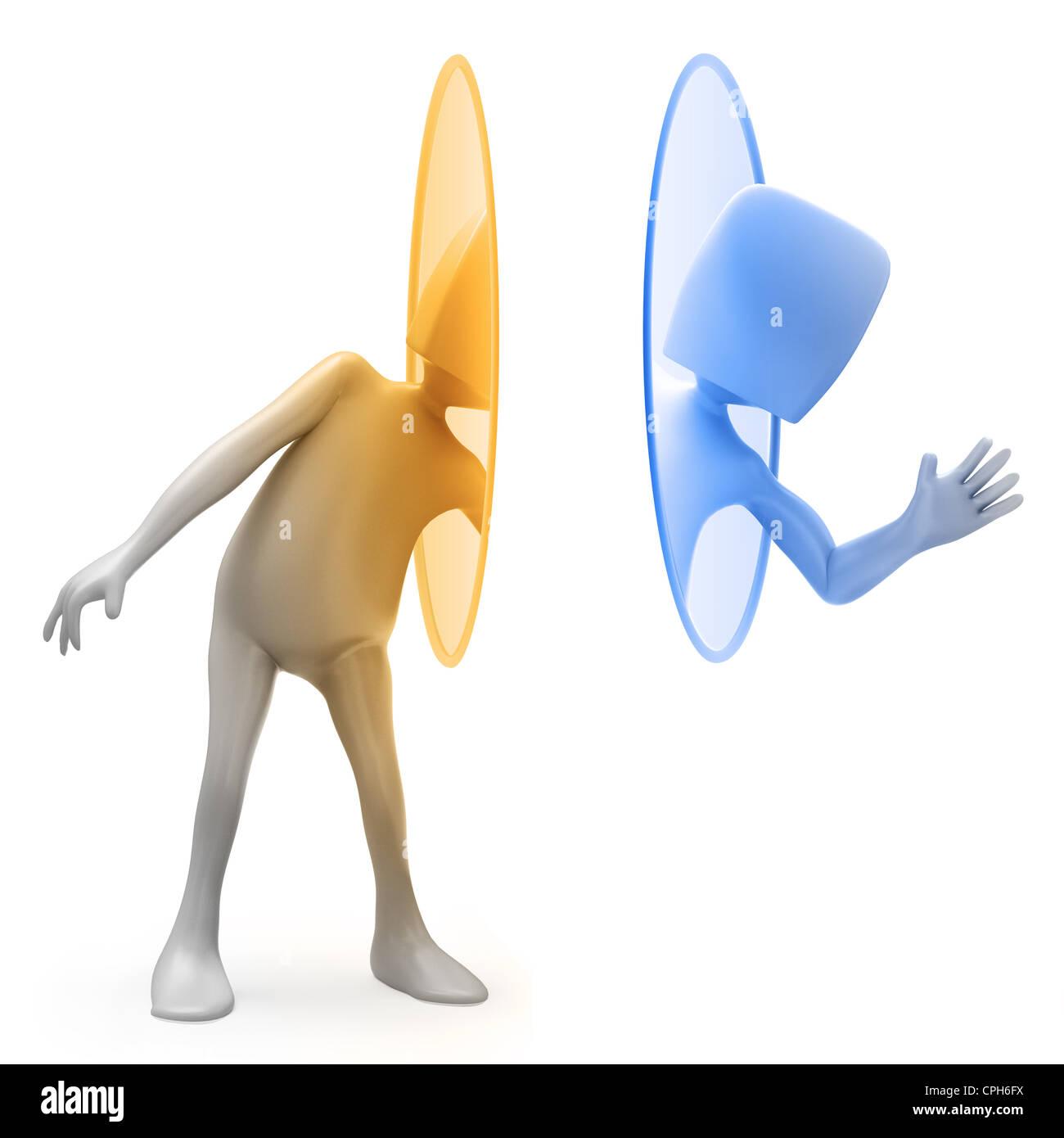 Dessins animés en 3D character Techy en utilisant un portail de téléportation Photo Stock