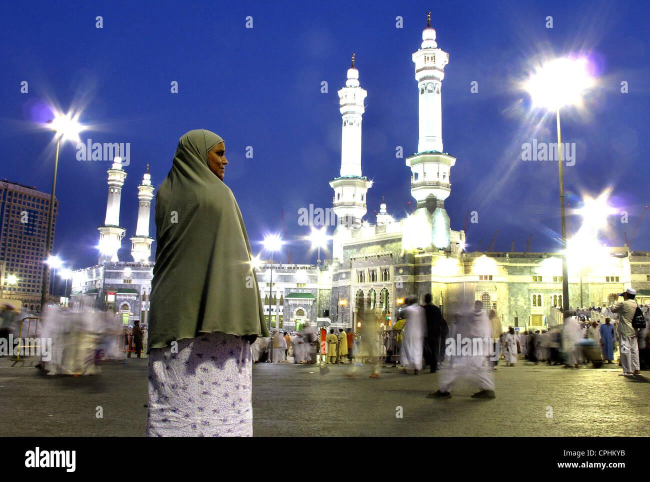 Pèlerinage à La Mecque, la Mosquée Al Haram et la Kaaba Arabie Saoudite Photo Stock