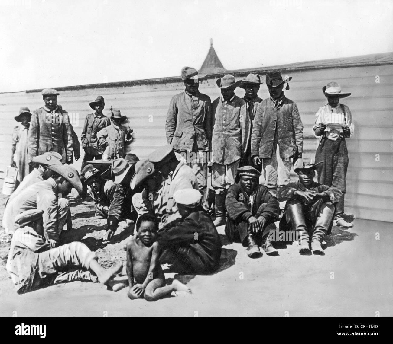 Hottentots comme compagnons d'armes des Allemands en Afrique du Sud-Ouest, 1904 Photo Stock
