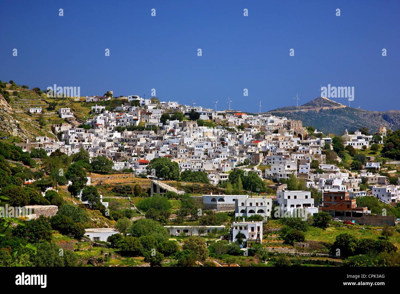 Apiranthos (ou 'Apeiranthos') village, l'un des plus beaux villages de montagne de l'île de Photo Stock
