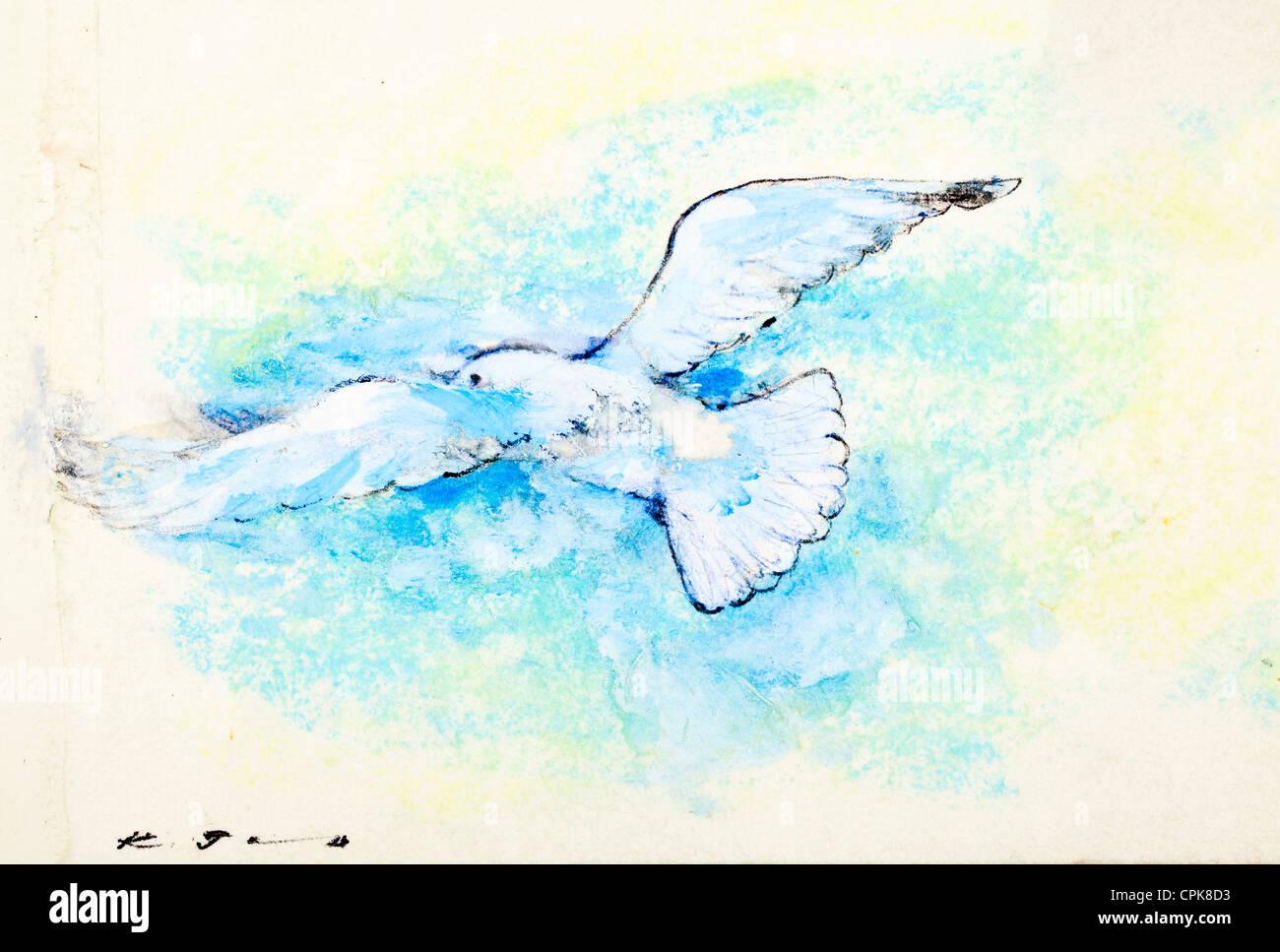 White Dove - craie pastel sur papier par Kurt Tessmann Photo Stock
