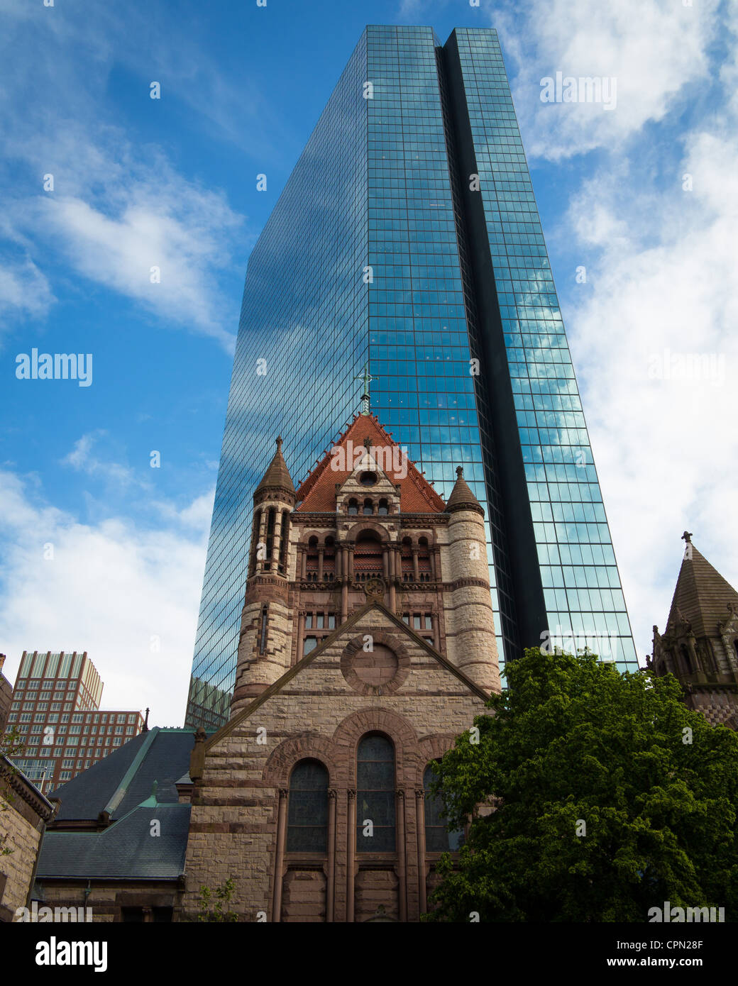Trinity Church dans la ville de Boston Photo Stock