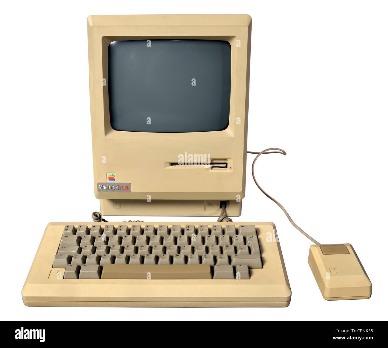 Computing / électronique, ordinateur, Apple Macintosh 512k, avec 9-Zoll-s/w-Monitor et 3,5 pouces Disque dur Photo Stock