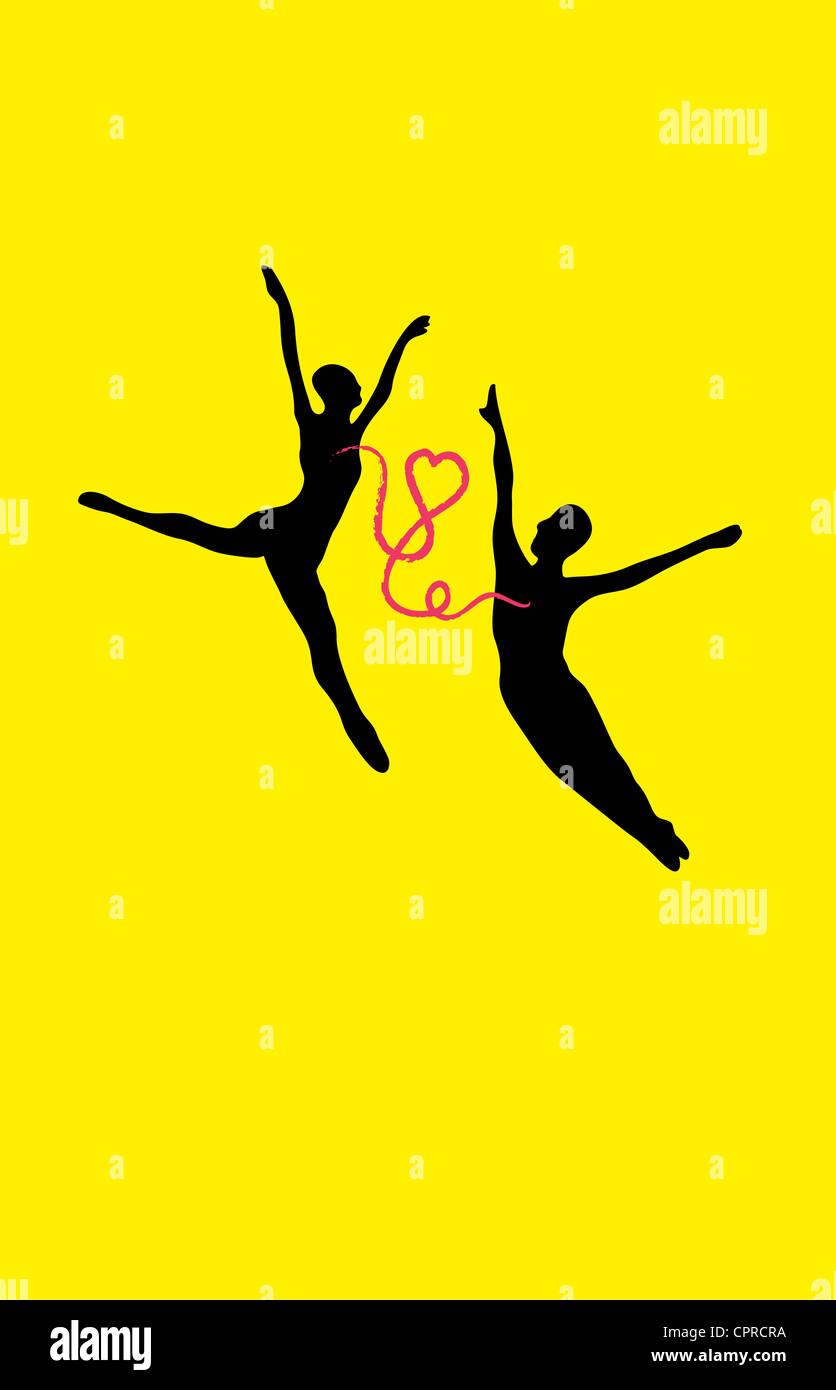 Couple danse avec connecté avec un coeur. Photo Stock