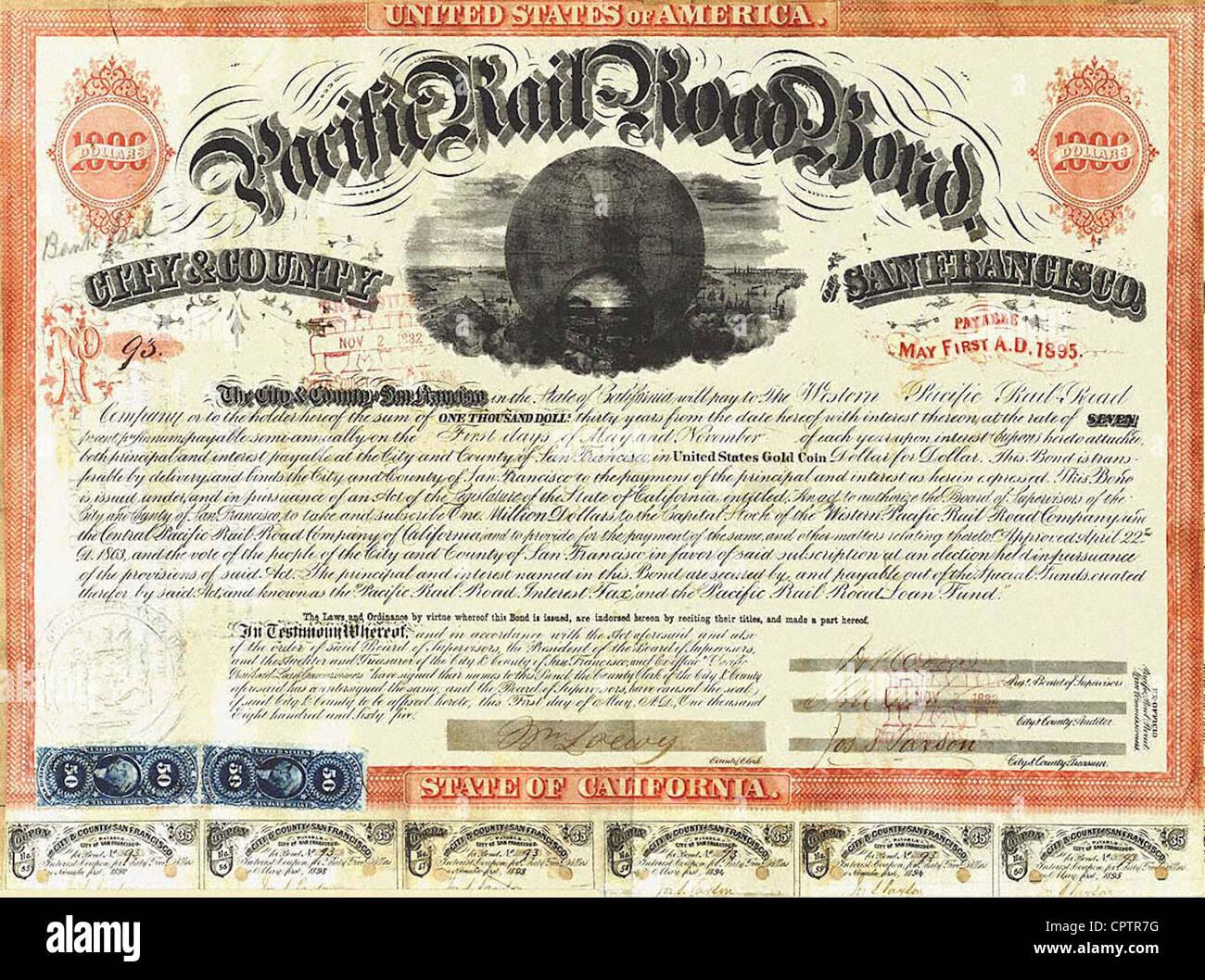 Pacific Rail Road 1000 $ d'obligations (No. 93) émis par la Ville et Comté de San Francisco (1865) Photo Stock