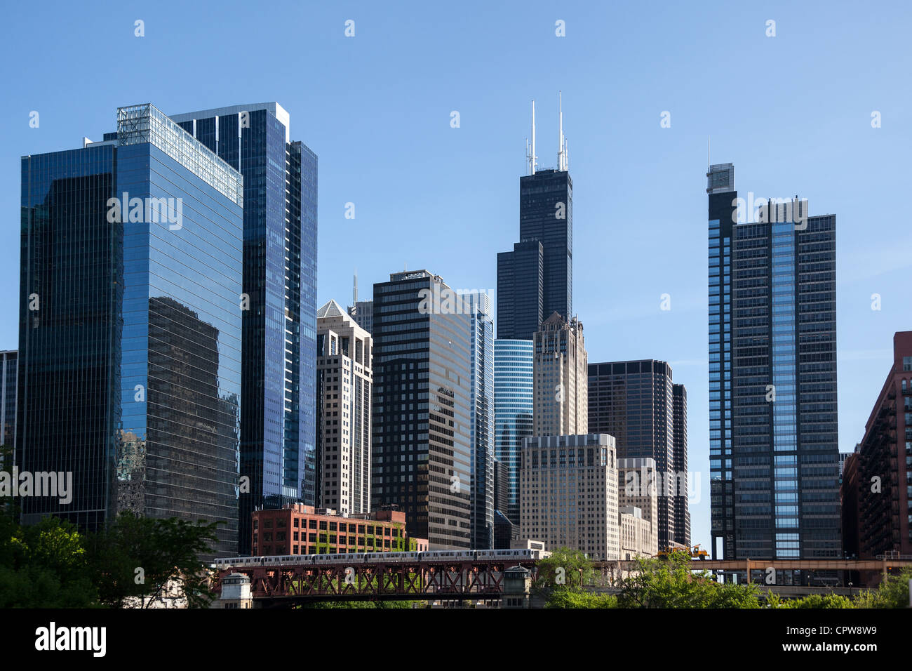 Chigaco ville avec la Willis tower à distance, Chicago, Illinois, USA Photo Stock