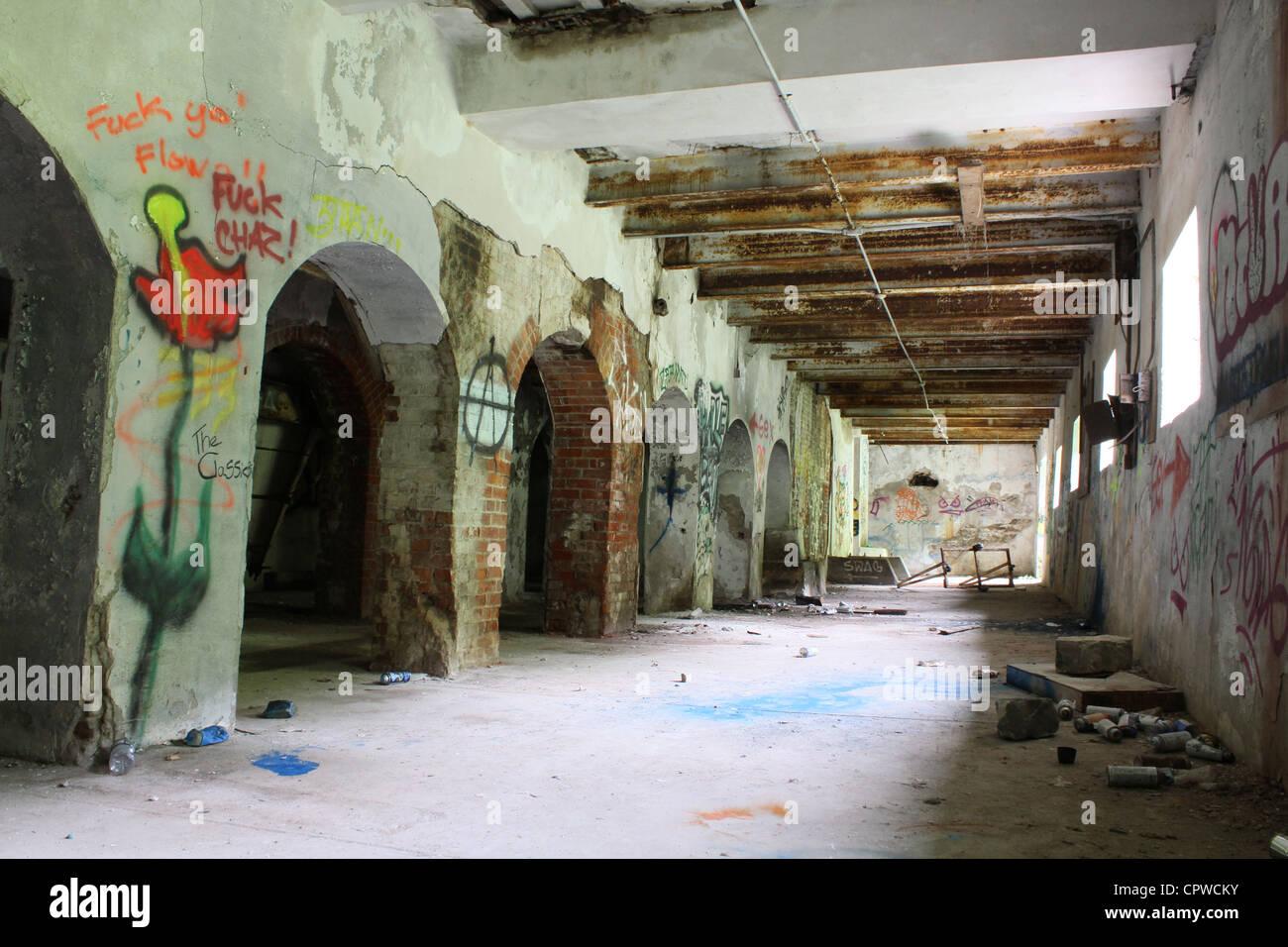 Abandonner l'intérieur du bâtiment Photo Stock