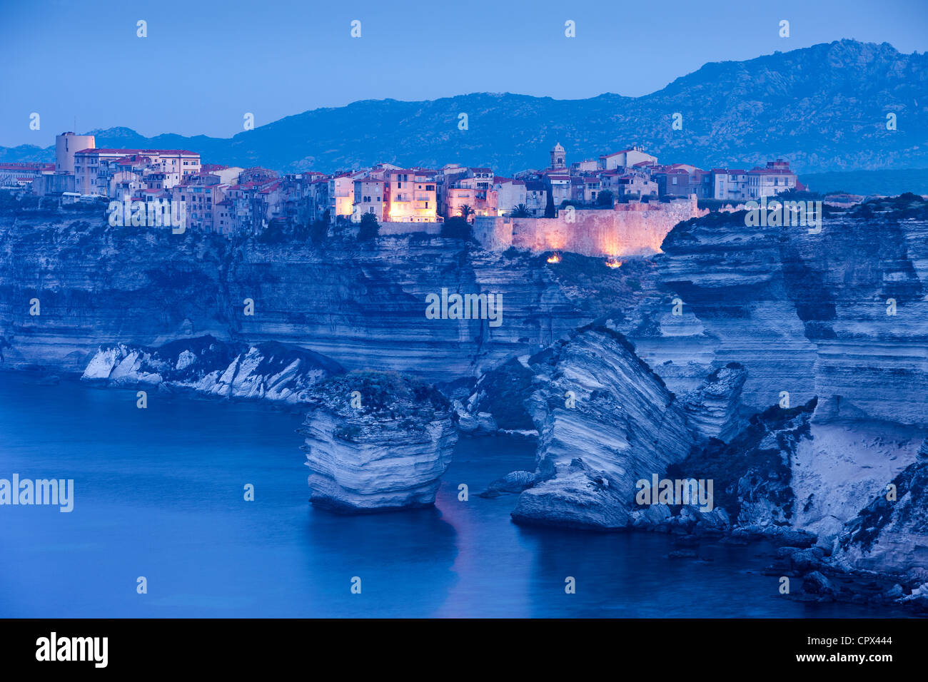 À l'aube de Bonifacio, Corse, France Photo Stock