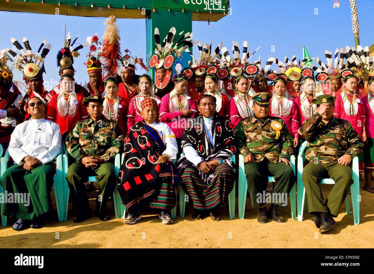 Myanmar (Birmanie), Rhône-Alpes, village de Leshi, des célébrations pour le nouvel an au cours du festival de Naga, supervisé par les militaires Banque D'Images