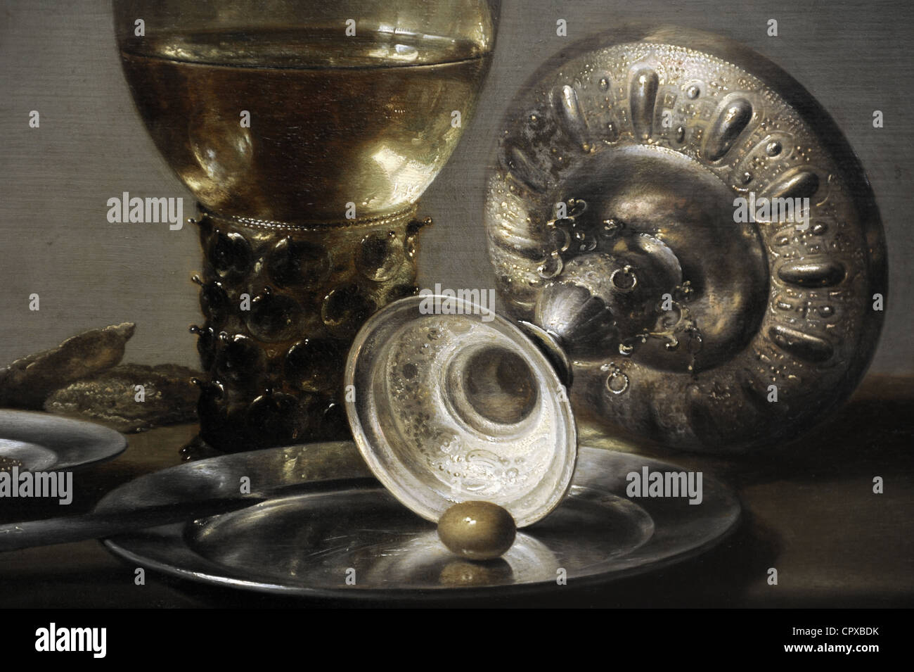 Pieter Claesz (ch. 1597-1660). Still Life, ch. 1635. Détail. Photo Stock