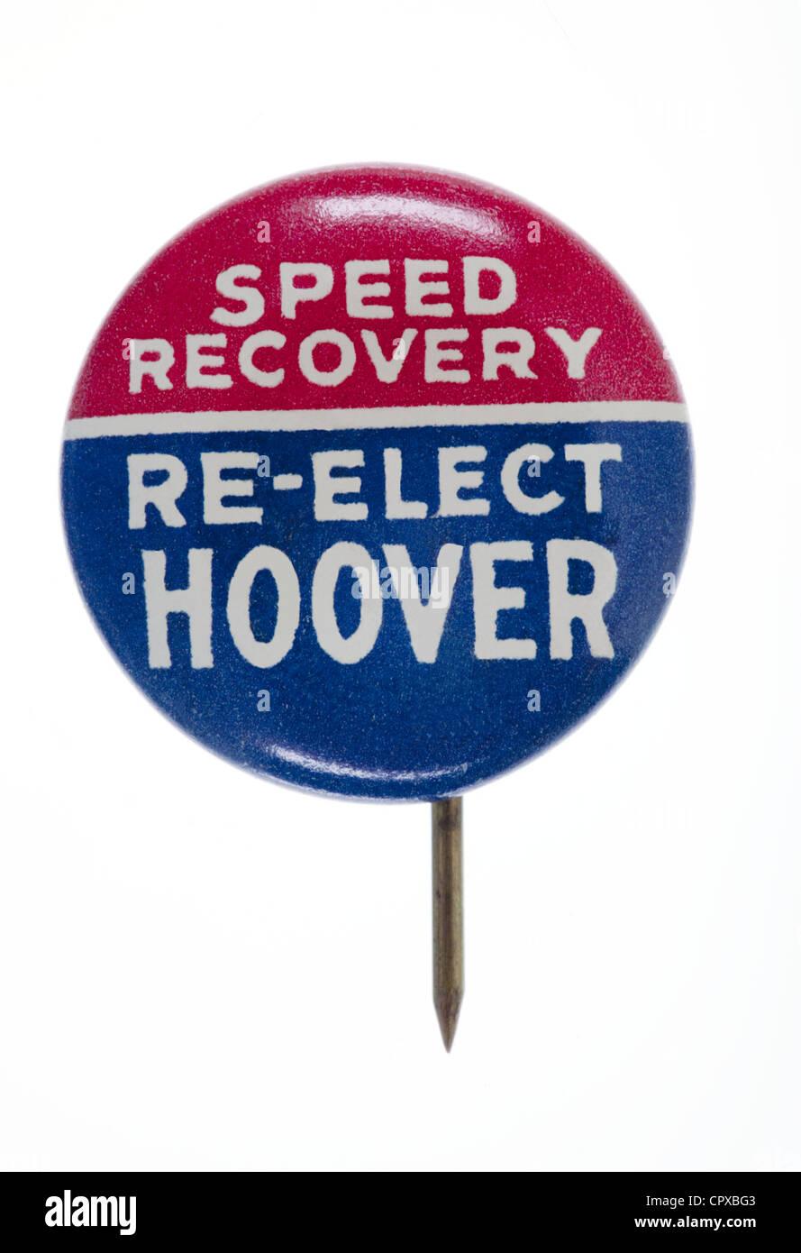 Élection présidentielle 1932 broche bouton pour Herbert Hoover Banque D'Images