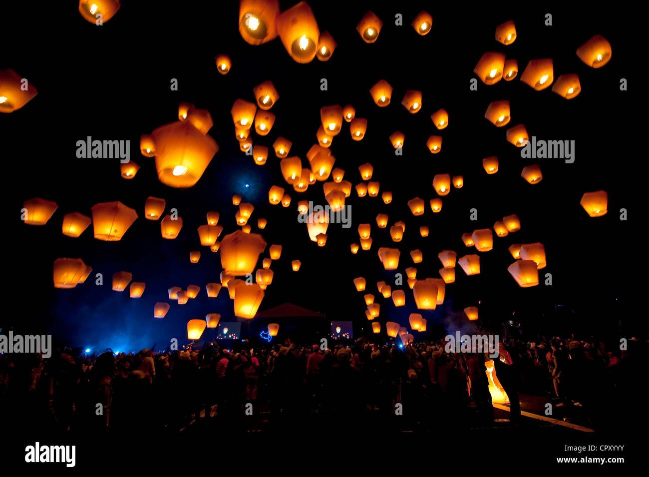 Taiwan, Taipei, festival des lanternes, Shifen Photo Stock
