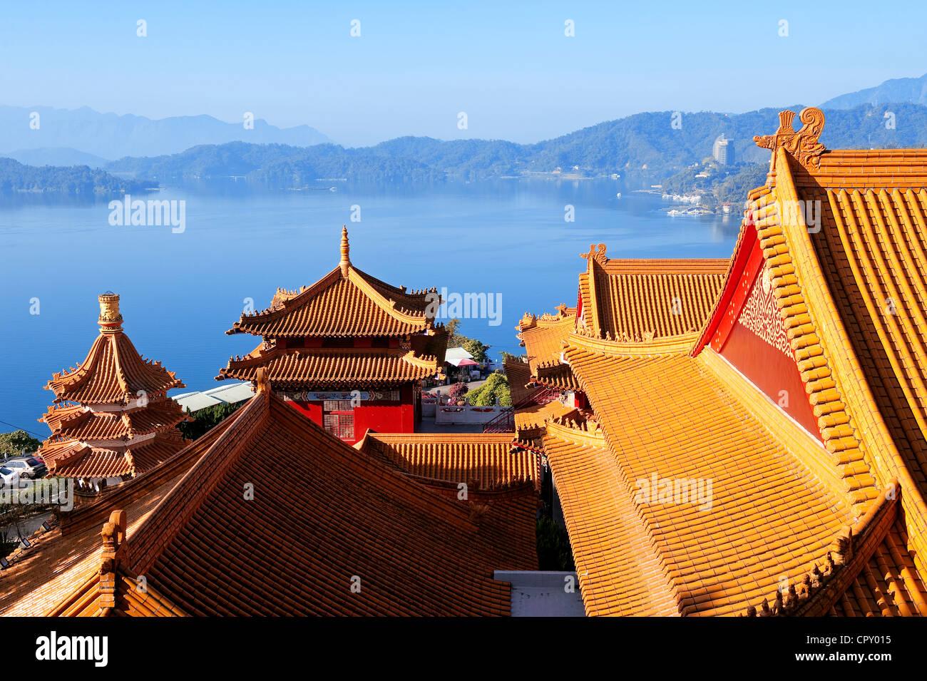 Taiwan, District de Nantou, Sun Moon Lake Region, Confucius Temple (Temple Wenwu) Photo Stock