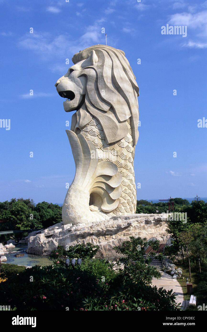Sentosa, Singapour Park, statue de Merlion, symbole de Singapour à l'entrée du parc de loisirs Banque D'Images