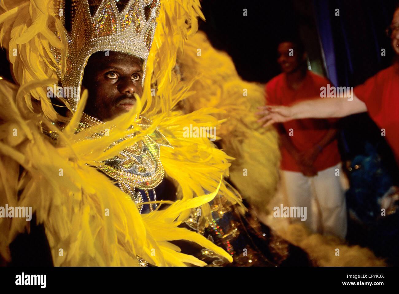 Brésil, Rio de Janeiro, la répétition d'une école de samba de la Porteña avant le carnaval Photo Stock