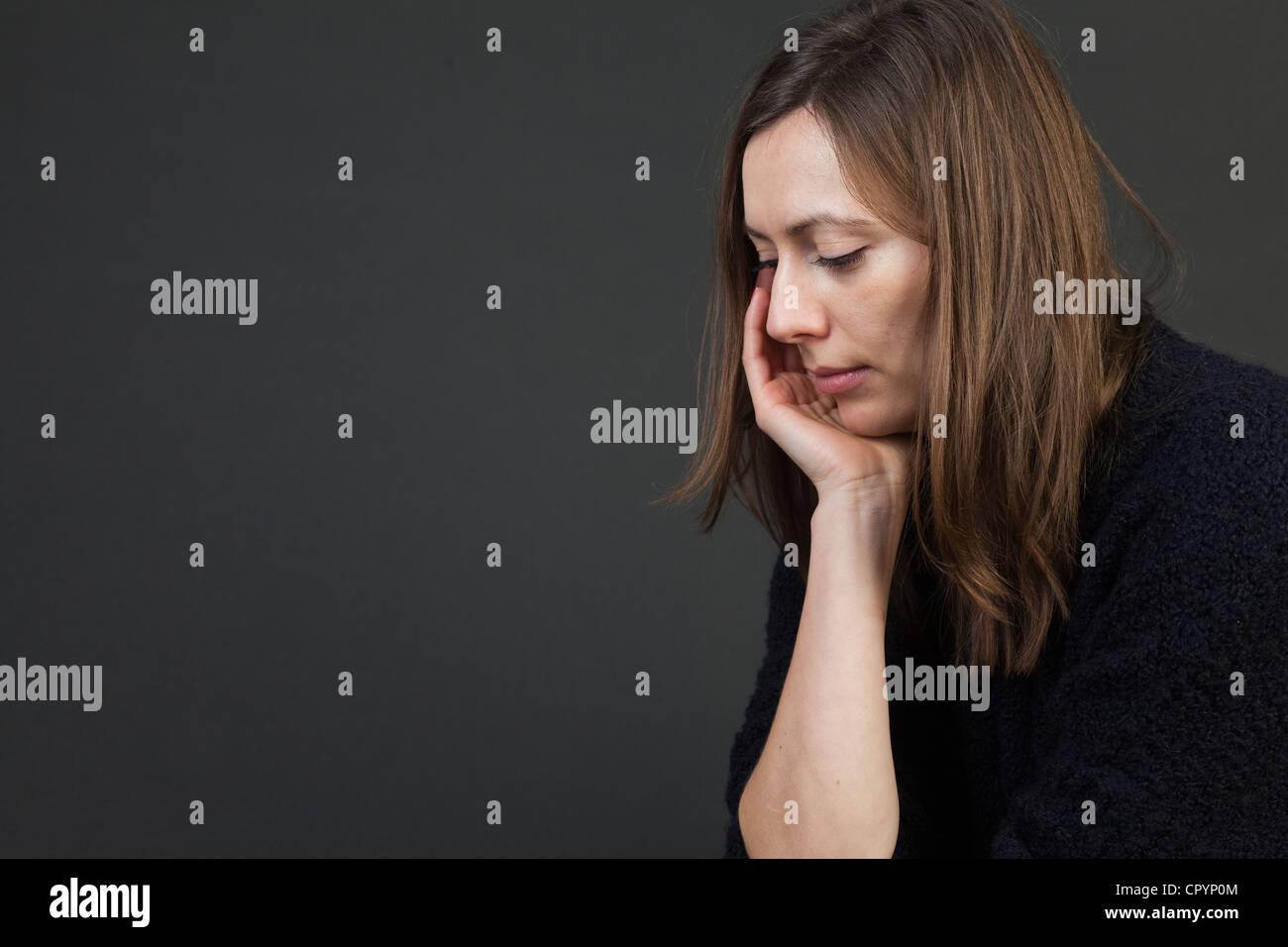 Femme, triste, des dépressions, des soucis Photo Stock