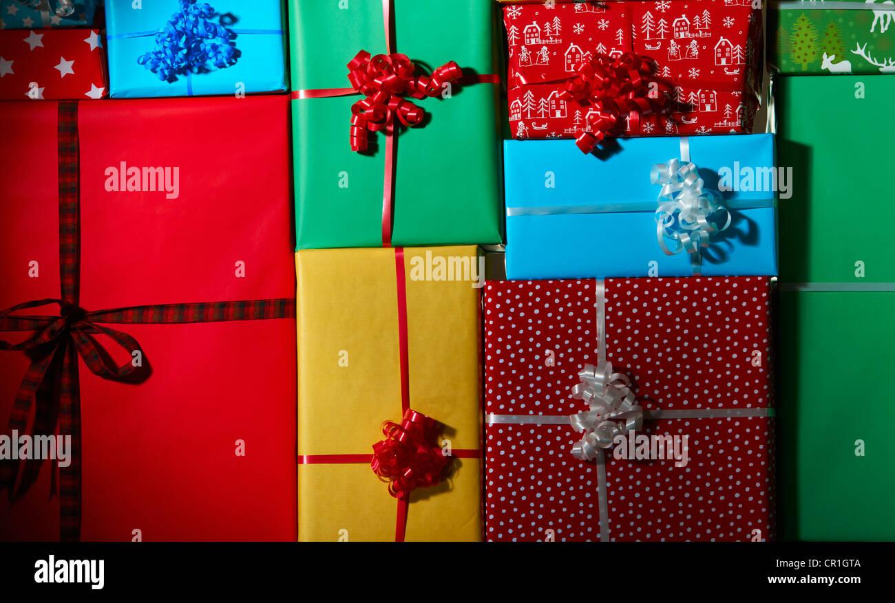 Pile de cadeaux de Noël Photo Stock