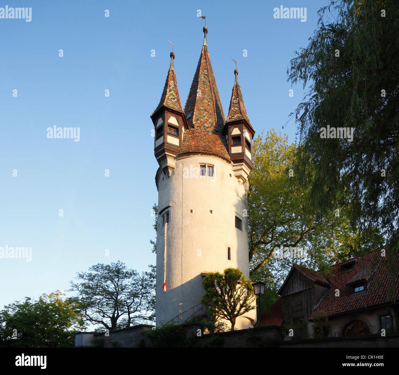 Tour Diebsturm, Lindau, sur le lac de Constance, souabe, Bavière, Allemagne, Europe, PublicGround Banque D'Images