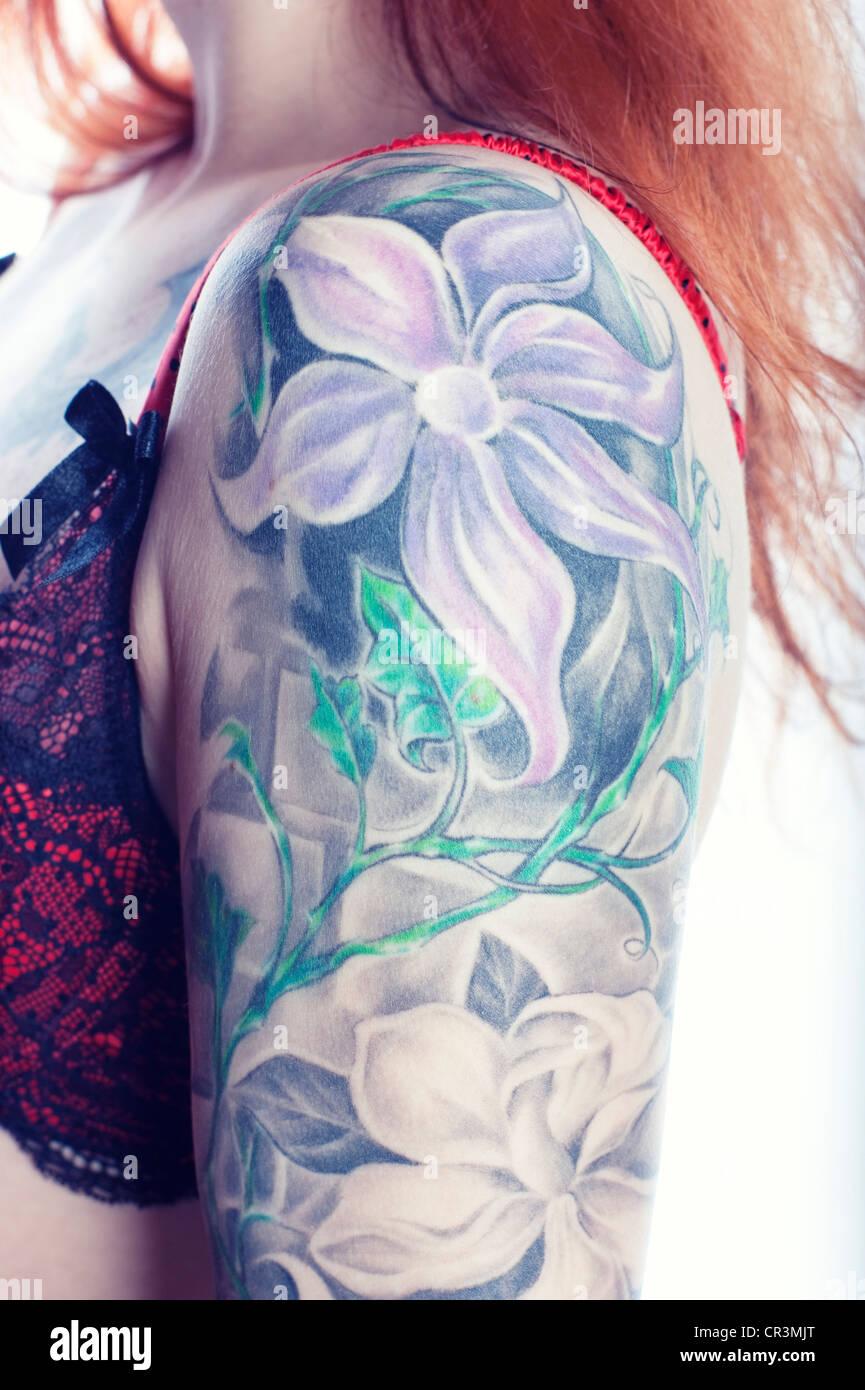 Tattoo Flowers Photos Tattoo Flowers Images Alamy